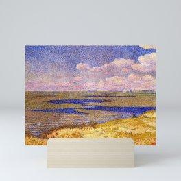 Barrier Beach and Salt Ponds, Summer seaside ocean landscape painting by Theo Van Rysselberghe Mini Art Print