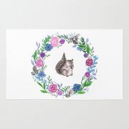 Squirrel and Wreath Watercolor Rug