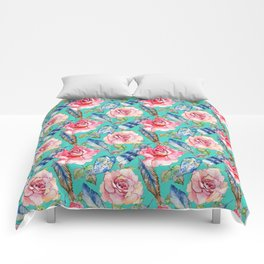 Hand painted blush pink blue turquoise watercolor boho roses floral Comforters