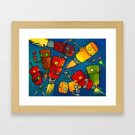 Robot - Robot Party 2 (Zero Gravity) Framed Art Print