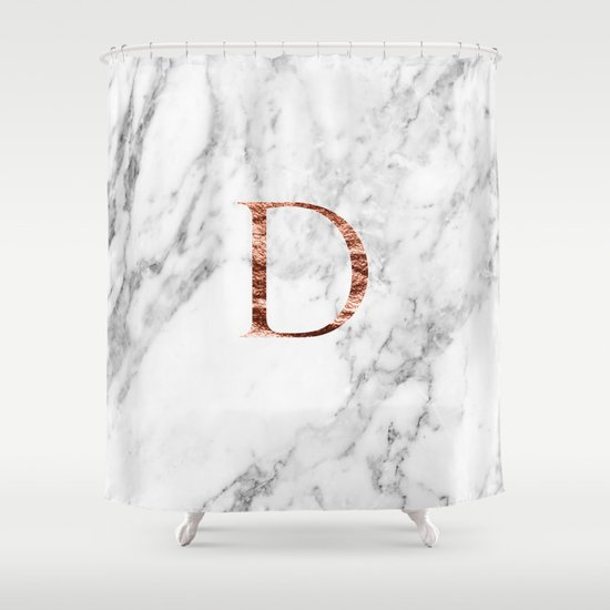 Monogram rose gold marble D by marbleco