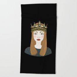 a girl and a crown  Beach Towel