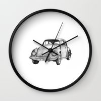 volkswagen Wall Clocks featuring Beetle Volkswagen by Michal Gorelick