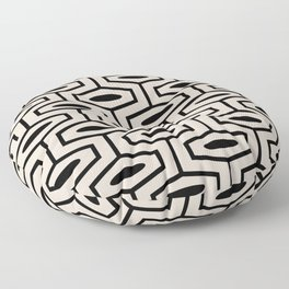 Geometric Ogee Pattern 123 Black and Linen White Floor Pillow