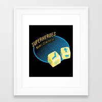 super heroes Framed Art Prints featuring Super-Heroes-Name-Generator by sergio37
