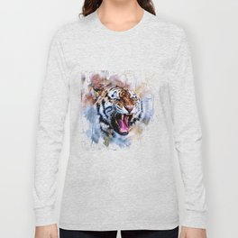 Snarling Wild Tiger with Paint Drips Long Sleeve T-shirt