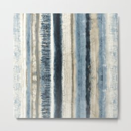 Distressed Blue and White Watercolor Stripe Metal Print