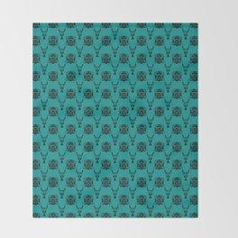 Lion Vs Gazelle Damask Print Throw Blanket