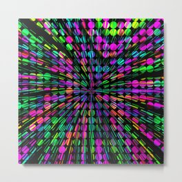 geometric circle abstract pattern in pink blue green black Metal Print