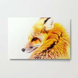 red fox digital acryl painting acrstd Metal Print