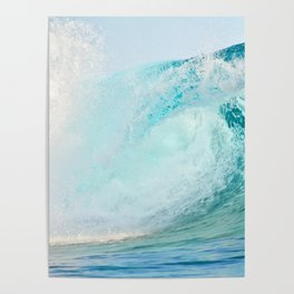 Pacific big surfing wave breaking Poster