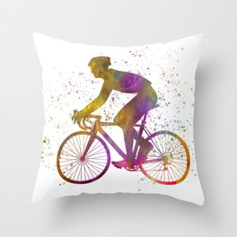 Cyclist competing in watercolor 03 Throw Pillow