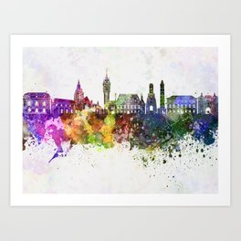 Calais skyline in watercolor background Art Print