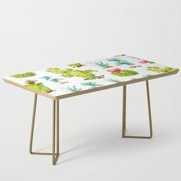 Green Cactus Watercolor Coffee Table
