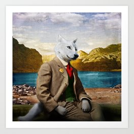 Mr. Wolf Relaxing at the Lake Art Print