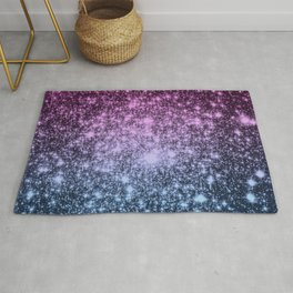 Galaxy Sparkle Stars Dark Mauve Steel Blue Rug