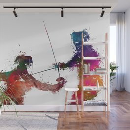 Fencing sport art #fencing Wall Mural