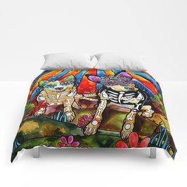 Australian Cattle Dog Sugar Skull Painting Comforters