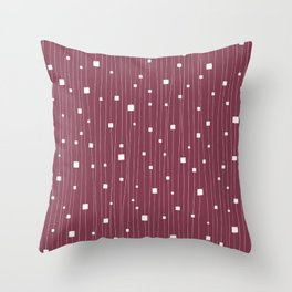 Squares and Vertical Stripes - Red Plum and White - Hanging Throw Pillow