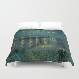 The starry night over the Rhône, 1888, Vincent van Gogh, Musée d'Orsay, Paris. Duvet Cover