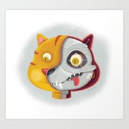 Cyborg cat Art Print