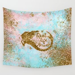 Faux Gold Glitter- REAL LIFE MERMAID On Sea Foam Wall Tapestry