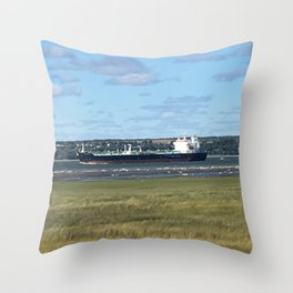 Boat on St-Laurent river Throw Pillow