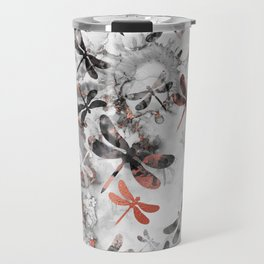 Dragonfly Lullaby in Marble and Rose Gold Travel Mug