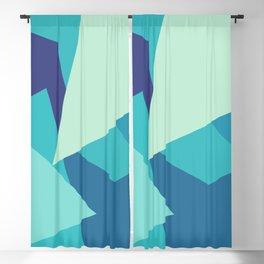 Retro Blue Mid-century Minimalist Geometric Line Abstract Art Blackout Curtain
