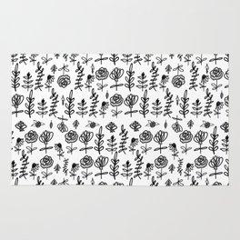 Black and White Folk Floral Rug