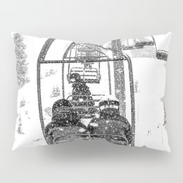 Snow Lift // Ski Chair Lift Colorado Mountains Black and White Snowboarding Vibes Photography Pillow Sham