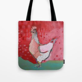 Red with Pink Hen Tote Bag