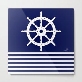 AFE Navy & White Helm Wheel Metal Print