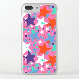 Fun ditsy print with constellations and twinkle lights Clear iPhone Case