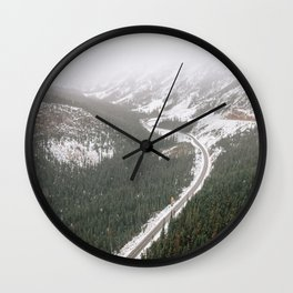 Snowy Mountain Road Wall Clock