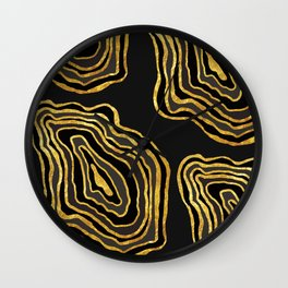 Agate Inspired Pattern - Black and Gold Wall Clock