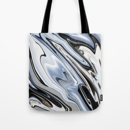 Grey and Black Metal Marbling Effect Abstract Tote Bag