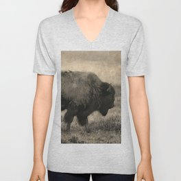 Plains Bison   -  American Buffalo Unisex V-Neck