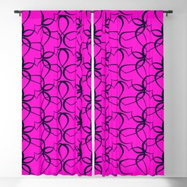 Vintage background of openwork hearts. Pattern of silhouettes of black hearts on a purple background Blackout Curtain