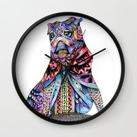 tatoo Wall Clocks featuring Tatoo pug by Annie Liu