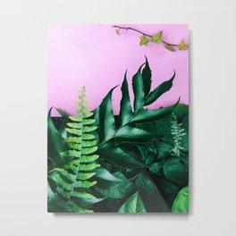 pink and foliage i Metal Print