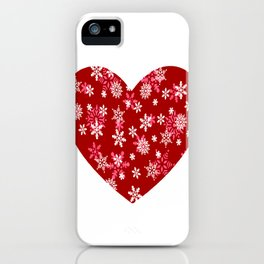Red Heart Of Snowflakes Loving Winter and Snow iPhone Case