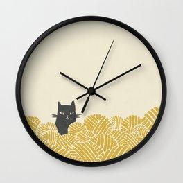 Cat and Yarn Wall Clock