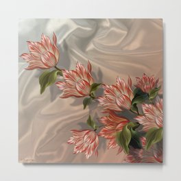 """Coral flowers on white silk"" (Air Spring) Metal Print"
