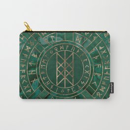 Web of Wyrd - Malachite, Leather and Golden texture Carry-All Pouch