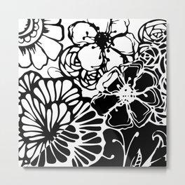 Black & White Floral Zentangle Doodle Design Metal Print