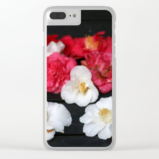 Red and White camelia Clear iPhone Case