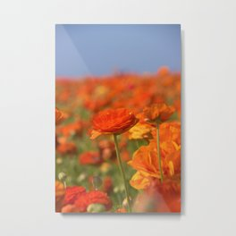 Orange Happiness Floral by Reay of Light Photography Metal Print