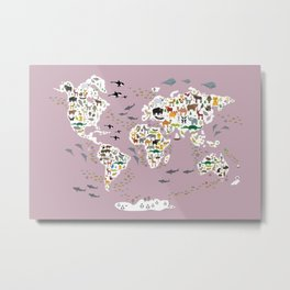 Cartoon animal world map for children, kids, Animals from all over the world, back to school lilac Metal Print