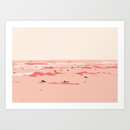 Sunset Tiny Surfers in Lima Illustrated Art Print